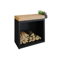 OFYR Butcher Block Storage 90 Black Teakholz